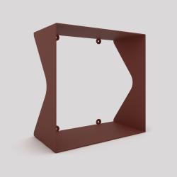 Cube-étagère échancré en acier, red-brown métallisé