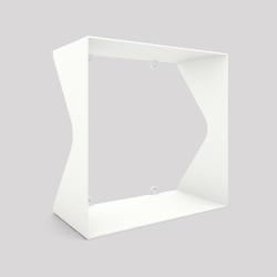 Cube-étagère échancré en acier, blanc