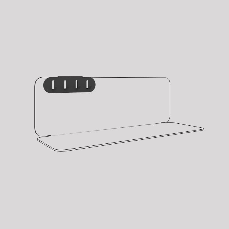 Porte-clefs en acier fixé sur l'étagère en acier Aventurine, couleur carbone