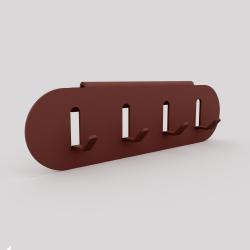 Porte-clefs en acier se fixe sur l'étagère ou sur le mur, red-brown métallisé