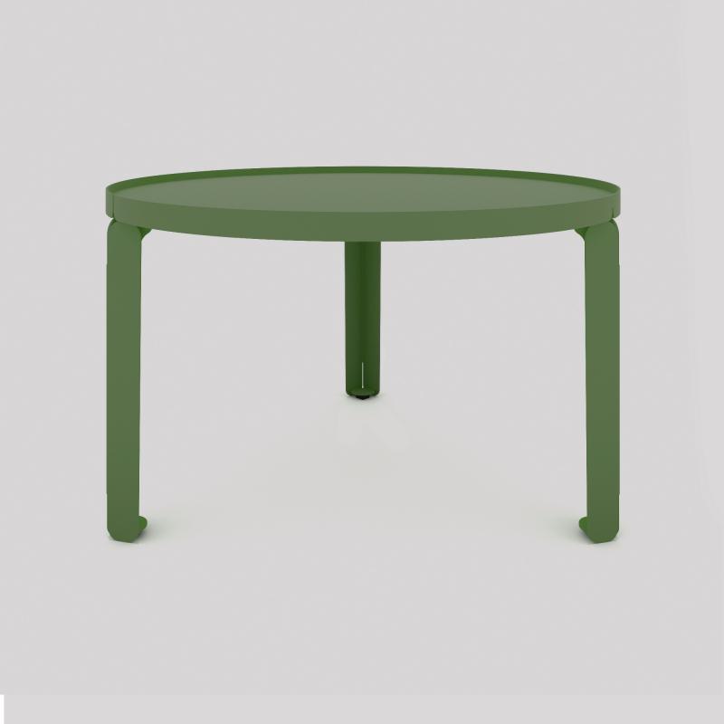 Table basse cosy en acier couleur verte