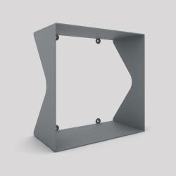 Cube-étagère échancré en acier, gris métallisé