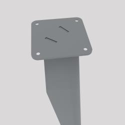 haut du pied profilé à visser en acier, coloris gris métallisé