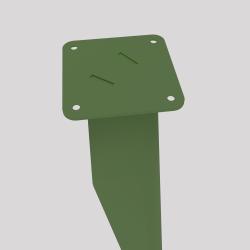 haut du pied profilé à visser en acier, coloris vert