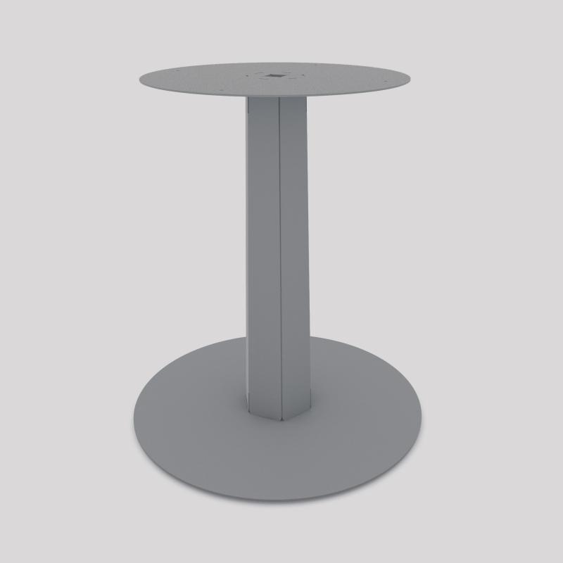 Pied central en acier, monopied, pour table haute ou basse, coloris gris métallisé