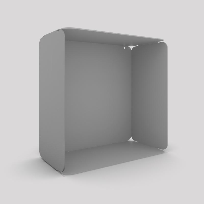 Cube mural avec voile de fond couleur gris métallisé