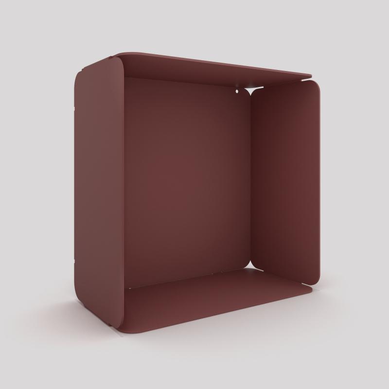 Cube mural avec voile de fond couleur red brown métallisé