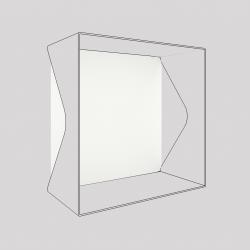 Plaque du cube-étagère échancré en acier, blanc