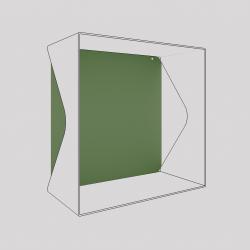 Plaque du cube-étagère échancré en acier, vert