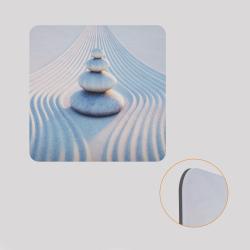Voile de fond décoratif pour cube-étagère, motif cailloux et sable blanc