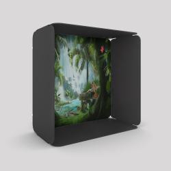 Voile de fond motif jungle avec le cube-étagère en acier couleur carbone