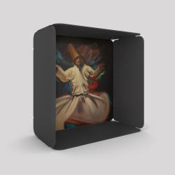 Voile de fond motif derviches tourneurs avec le cube-étagère en acier couleur carbone